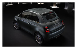 Fiat 500 La Prima Electric Car Giorgio Armani Trim White Image Outline Rear View