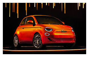 Fiat 500 La Prima Electric Car Bulgari Trim Orange Paint White Image Outline Front View