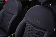 Dedicated blue fabric seats with Fiat monogram