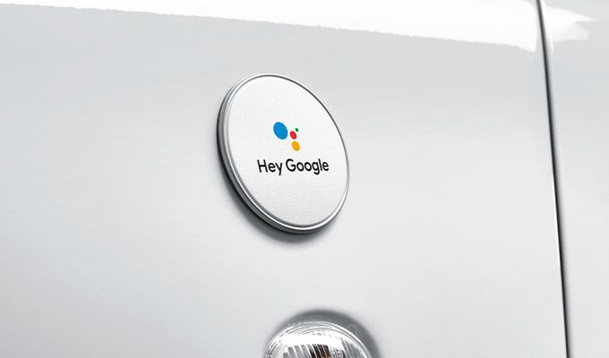 """Hey Google"" badge on the fender"