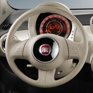 Fiat 500 White Leather Steering Wheel