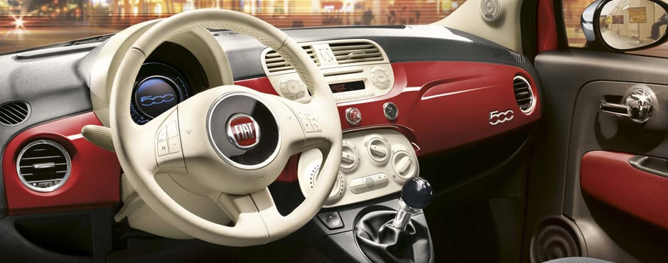 Fiat 500 Interior - Steering Wheel / Dashboard Close-Up
