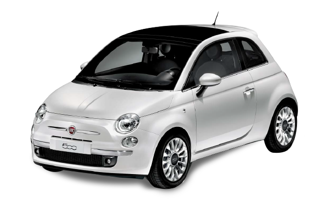 Fiat 500 - White - Front / Left Side View