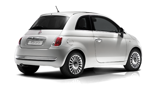 Fiat 500 - Bossa Nova White Rear / Right Side View